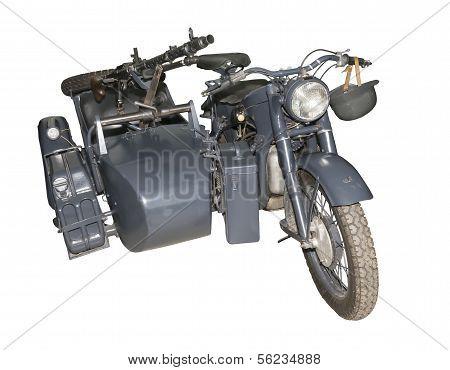German Motorcycle Bmw R-12 With A Machine Gun Mg-34/42