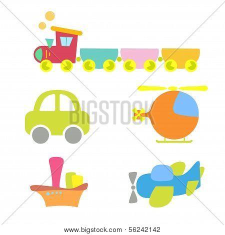 cartoon baby transport, set, isolated on white