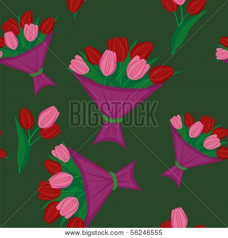 seamless background with boquets of tulips