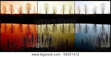 Triptych lake reflection