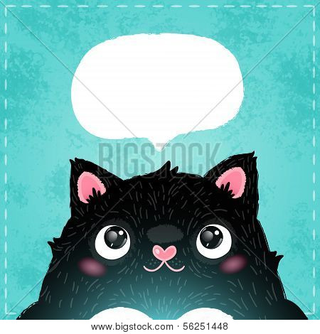Card With Cute Fat Cat