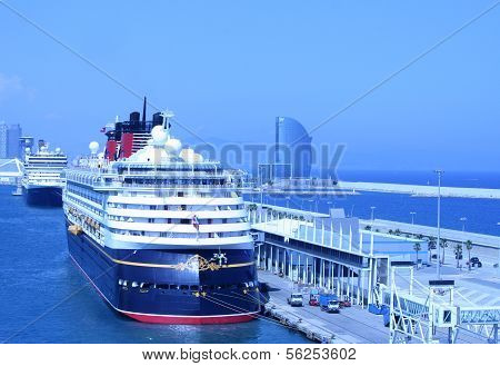 Barcelona, Spain - July 24: The View To Cruise Terminal In The Port Of Barcelona