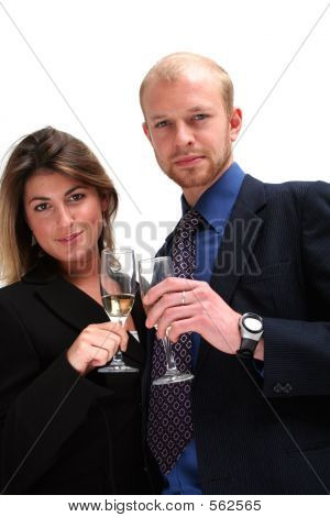 Business Couple  Celebrating