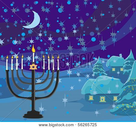 Winter Christmas Scene - Hanukkah Menorah Abstract Card