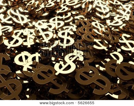 Many dollars sign