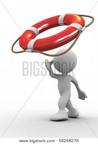 3d human throwing life preserver for help. 3d illustration.