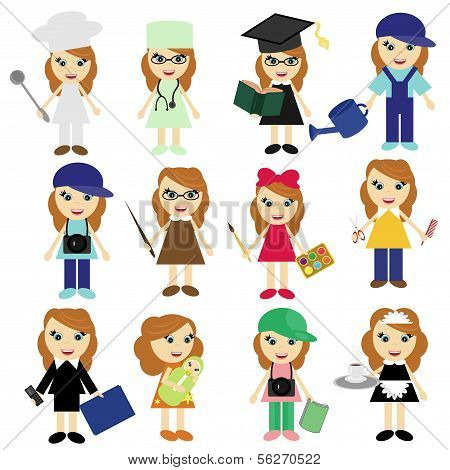 different jobs girls on white