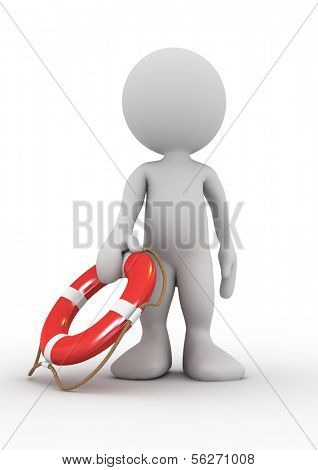 3d human with life preserver. 3d illustration.