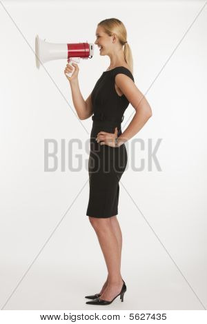 Businesswoman Yelling Into Megaphone