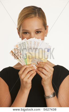 Businesswoman Holding Up Euros