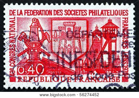 Postage Stamp France 1970 Arms Of Lens And Miner's Lamp