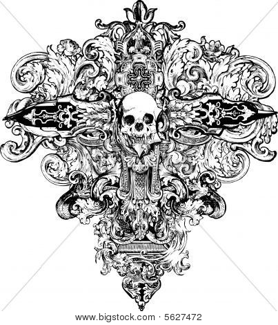 Cross Skull Illustration