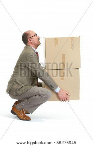 Businessman And A Cardboard Box