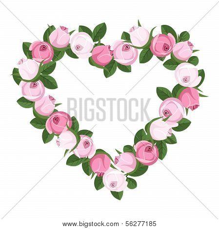 Heart of rose buds. Vector illustration.