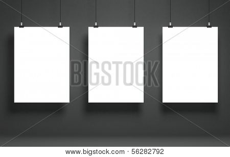 Demo of white blank poster on a gray surface. Template for advertising or other images. 3d illustration