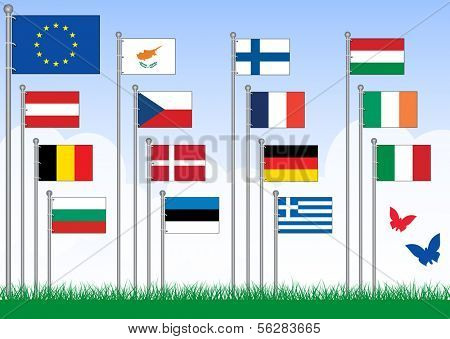 Vector set A of 15 flags from the EU. All objects are grouped and tagged with the country name. This set belongs to set B with remaining EU flags.