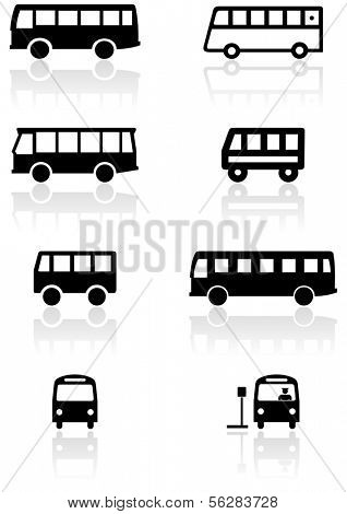 Vector set of different bus or van symbols. All vector objects are isolated. Colors and transparent background color are easy to adjust.