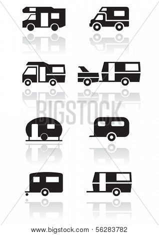Caravan or camper van symbol vector illustration set.