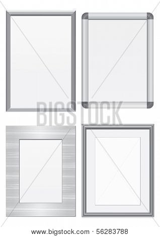 Vector illustration set of frames with metal texture. All vector objects are isolated and grouped. Colors and transparent background color are easy to customize.
