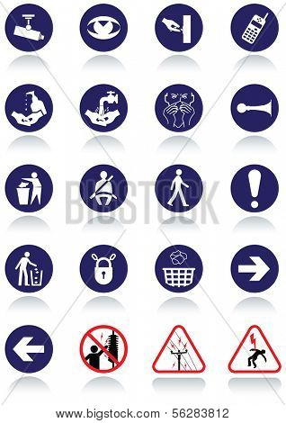 Illustration set of international communication signs. All vector objects and details are isolated and grouped. Colors, reflection and transparent background color are easy to remove or customize.