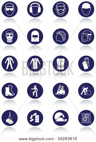 Set of international communication signs for workplaces. All vector objects and details are isolated and grouped. Colors, reflection and transparent background color are easy to remove or customize.