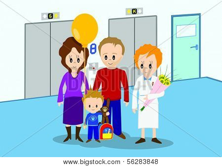 Illustration of child discharged from hospital and going home. All vector objects and details are isolated and grouped. This illustration is a part of a story about a child in hospital.