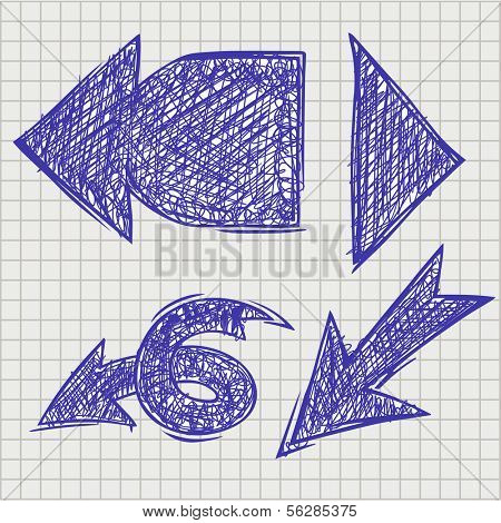 Set of vector elements in hand drawing style. The arrow pointer