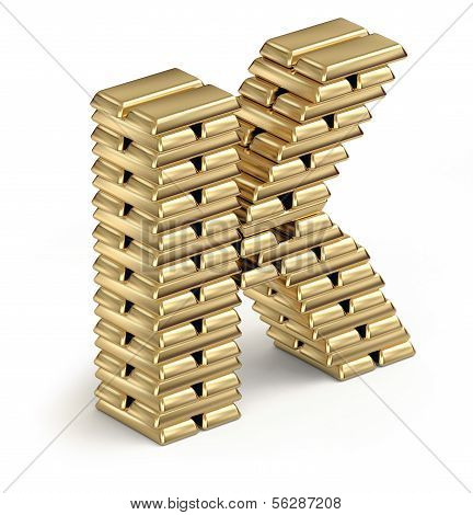 Letter K from gold bars