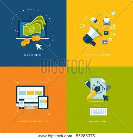 Set of flat design concept icons for web and mobile services and apps