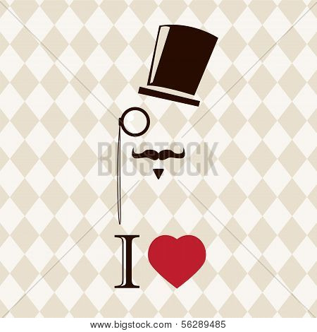 Vintage card with top hat, monocle and mustache, vector illustration