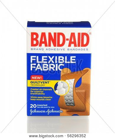 IRVINE, CA - January 21, 2013: 20 count box of Band-Aid Brand Ashesive Bandages, Flexible Fabric. The Band-Aid was invented in 1920 by Johnson & Johnson employee Earle Dickson.