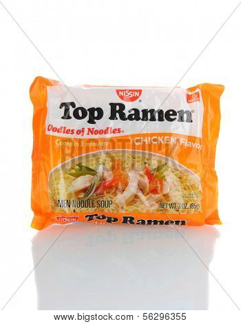 IRVINE, CA - January 21, 2013: A 3 ounce package of Top Ramen Chicken Flavor. Manufactured by Nissin Foods, Top Ramen is a favorite ramen noodle since 1970.