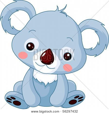 Fun zoo. Illustration of cute Koala Bear. Raster version.
