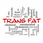 picture of trans  - Trans Fat Word Cloud Concept in red caps with great terms such as grams diet unsaturated and more - JPG