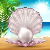stock photo of mother-of-pearl  - Vector illustration of a pearl on the beautiful sea coast - JPG