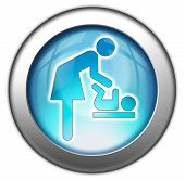stock photo of diaper change  - Icon Button Pictogram with Baby Change symbol - JPG