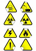 Vector illustration set of different hazmat warning signs. All vector objects and details are isolat