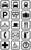 Vector set of international direction signs. All objects and details are isolated and grouped. Color