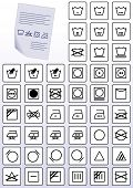 Vector illustration set of apparel care instruction symbols. All vector objects are grouped and tagg