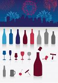 Vector illustration set of party drinks, glasses, corkscrew and decoration. All objects are grouped.