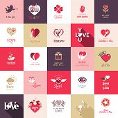 picture of owls  - Big set of icons for Valentines day - JPG