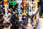 image of tobacco-pipe  - Hookah in souvenir shop at Dubai - JPG