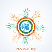 pic of ashoka  - Happy Indian Republic Day concept with human hands in national flag colors and Ashoka Wheel on blue background - JPG
