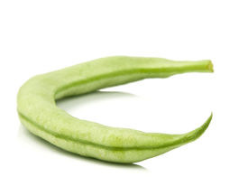 picture of green bean  - Single green bean on a white background - JPG