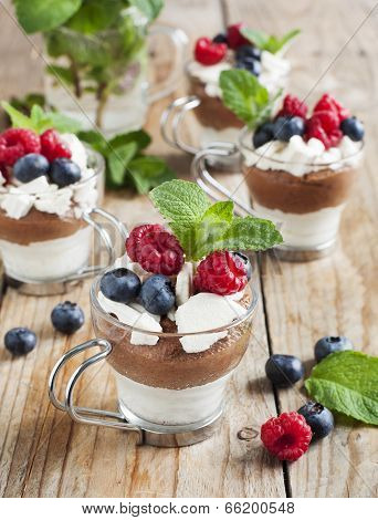 White Chocolate And Milk Chocolate Mousse With Berries And Meringue