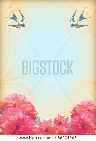 Floral Wedding Party Card With Flowers, Birds