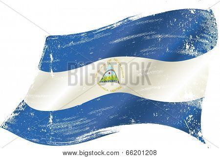 Nicaraguan grunge flag. A waving flag of  Nicaragua with a grunge texture