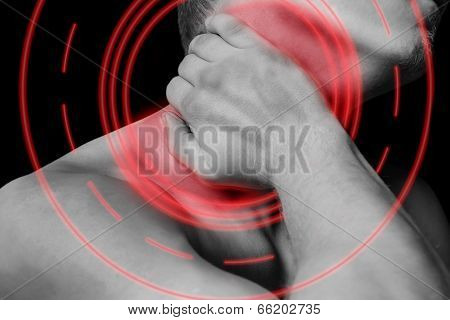 Pain In Male Neck, Pain Area Of Red Color