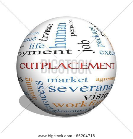 Outplacement 3D Sphere Word Cloud Concept