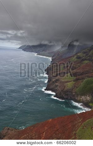 Kauai NaPali coast from the air during the approach of a storm